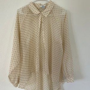 BAR III Polka Dot Button Dow Blouse with Slits